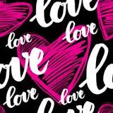 Pattern with sign LOVE. Vector handwritten calligraphy seamless pattern with sign LOVE Stock Photography