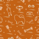Pattern of silhouette chow-chow dog, bowl, bone, brush, comb, to. Ys and other items to care for pet. Design for banner, poster or print Royalty Free Stock Photography