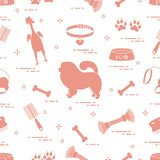Pattern of silhouette chow-chow dog, bowl, bone, brush, comb, to. Ys and other items to care for pet. Design for banner, poster or print Stock Image