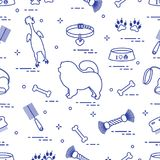 Pattern of silhouette chow-chow dog, bowl, bone, brush, comb, to. Ys and other items to care for pet. Design for banner, poster or print Stock Images