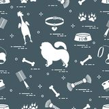 Pattern of silhouette chow-chow dog, bowl, bone, brush, comb, to. Ys and other items to care for pet. Design for banner, poster or print Stock Photo