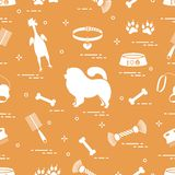 Pattern of silhouette chow-chow dog, bowl, bone, brush, comb, to. Ys and other items to care for pet. Design for banner, poster or print stock illustration