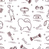 Pattern of silhouette chow-chow dog, bowl, bone, brush, comb, toys and other items to care for pet. Design for banner, poster or print vector illustration