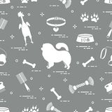 Pattern of silhouette chow-chow dog, bowl, bone, brush, comb, toys and other items to care for pet stock illustration
