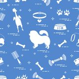 Pattern of silhouette chow-chow dog, bowl, bone, brush, comb, to. Ys and other items to care for pet. Design for banner, poster or print royalty free illustration