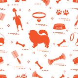 Pattern of silhouette chow-chow dog, bowl, bone, brush, comb, to stock illustration