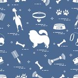 Pattern of silhouette chow-chow dog, bowl, bone, brush, comb, toys and other items to care for pet royalty free illustration