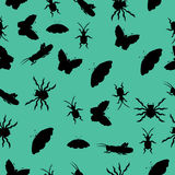 Pattern of silhouettes of insects. vector illustration. Drawing by hand. Pattern of silhouettes of insects. vector illustration. Drawing by hand vector illustration