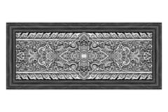 Pattern of silver metal plate with flower carved on white stock image