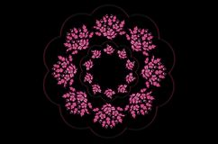 Shiny wavy  frame with a wreath of bouquets of magenta flowers with leaves on a black background Royalty Free Stock Image