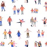 Pattern with skating tiny people having fun on ice rink. Seamless pattern with skating tiny people having fun on ice rink. Backdrop with happy women, men and vector illustration