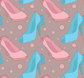 Pattern with sketch female shoes Royalty Free Stock Photo