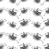 Pattern of of sketches of dancing ballerinas. Seamless baclgtound of the ballerinas doodles Royalty Free Stock Photography