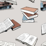 Pattern of the sketches of the printed books. Vector background of the different old books Stock Photo