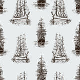 Pattern of the sketches sailing ships Royalty Free Stock Photos