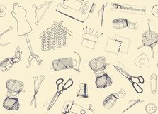 Pattern with sketches of sewing and knitting Stock Photos