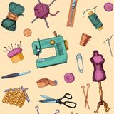 Pattern with sketches of sewing and knitting Royalty Free Stock Photo