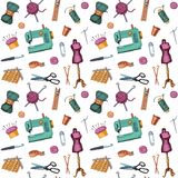 Pattern with sketches of sewing and knitting Royalty Free Stock Image