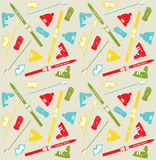 Pattern with skis and sticks Royalty Free Stock Images
