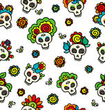 Pattern with skulls-catrinas Stock Photo