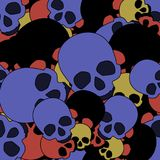 Pattern of skulls of different colors. Without seams Royalty Free Stock Images