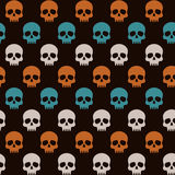 Pattern with skulls for halloween. Colorful halloween pattern, vector seamless pattern with skulls Royalty Free Stock Image