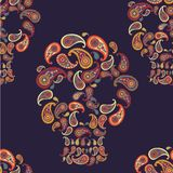 Pattern with skulls and paisley Stock Images