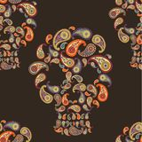 Pattern with skulls and paisley Stock Photo