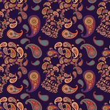 Pattern with skulls and paisley Royalty Free Stock Photos
