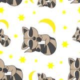 Pattern_sleeping_raccoon stock illustration