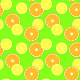 Pattern with slice citruses - lemon and orange Royalty Free Stock Photos