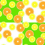 Pattern with slice citruses - lemon and orange Stock Photos