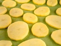 Pattern of sliced potatoes on green plastic board. Pattern of sliced peeled potatoes on green used plastic board, simple food preparation illustration Stock Images