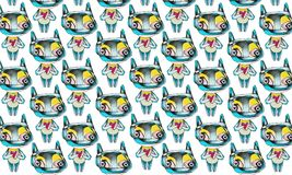A pattern with small creatures holding hearts stock illustration