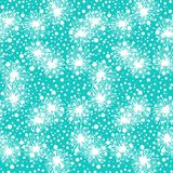Pattern with small flowers, pompoms or snowflakes. Vector seamless pattern with small furry flowers or pompoms or snowflakes in aqua blue and white colors Stock Photo