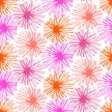 Pattern with small furry flowers or pompoms Stock Images