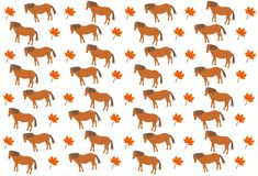 Pattern of small gold horses and maple leaf on white background. Pattern of gold horses and maple leaf on white background in vector vector illustration