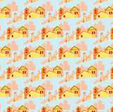 Pattern of small houses Royalty Free Stock Images