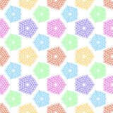 Pattern with small symbols of pentagonal star from hearts. Modern flat colorful template with geometric figures for prints textiles wrapping wallpaper card vector illustration