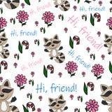 Pattern_smiling_raccoon stock illustration