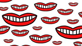 Red mouths of different sizes. Pattern of smiling red mouths in sizes small and large in no particular order Stock Images