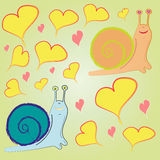 Pattern snail and hearts Royalty Free Stock Photo