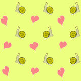 Pattern snail and hearts Stock Photos