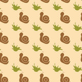 A pattern of snails and herbs. Royalty Free Stock Images