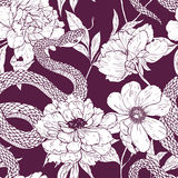 Pattern with snake and flowers. Stock Image