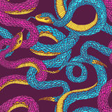 Pattern with snakes. Seamless vector hand drawn pattern with shakes Royalty Free Stock Images