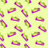 Pattern sneakers bright. Seamless pattern sneackers. Flat vector cartoon illustration. Objects isolated on a white background stock illustration