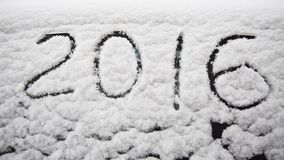 2016 pattern in snow Stock Image