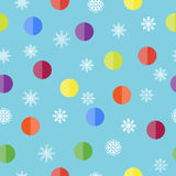 Pattern with snowflakes and balls. Vector Christmas seamless pattern with snowflakes and balls Stock Photo