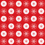 Pattern snowflakes and circles on red. Vector Christmas seamless pattern with circles and elegant snowflakes on a red  background Royalty Free Stock Image